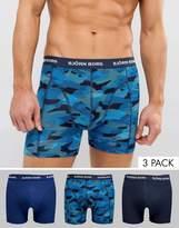 Bjorn Borg Bjorn Bjorg 3 Pack Trunks Camo Blue