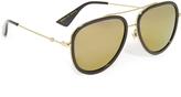 Gucci Flash Pilot Urban Web Block Aviator Sunglasses