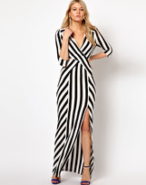 Love Stripe Maxi Dress With Cut Out And Thigh Split