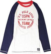 U.S. Polo Assn. Oatmeal Heather & Navy Graphic Raglan Tee - Boys
