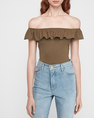 Express Ribbed Ruffle Off The Shoulder Thong Bodysuit