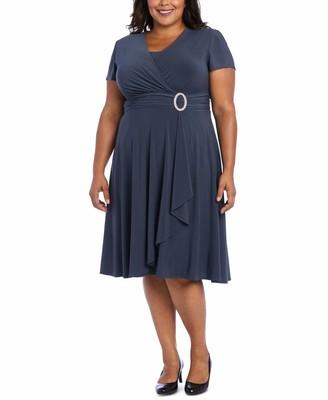 R & M Richards R&M Richards Womens Gray Short Sleeve V Neck Midi Sheath Dress Plus US Size: 20W