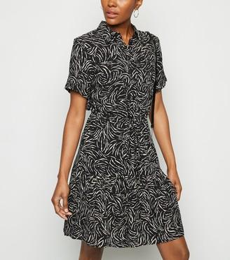 New Look Zebra Print Peplum Hem Mini Shirt Dress