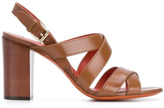 Santoni Cross-Strap Block-Heel Sandals