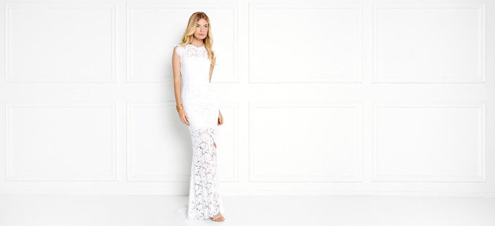 Rachel Zoe Estelle Open-Back Lace Gown