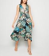 New Look AX Paris Satin Patchwork Midi Dress