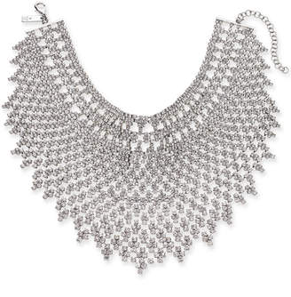 "INC International Concepts Inc Silver-Tone Crystal Geometric Statement Choker Necklace, 12"" + 3"" extender"