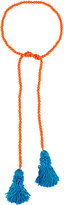 Kenneth Jay Lane Beaded Rope Necklace w/ Tassel Ends, Coral