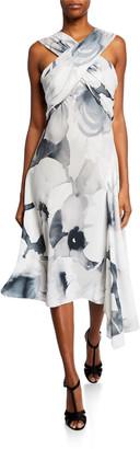 Josie Natori Eden Floral-Print Asymmetric Halter Dress