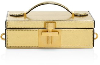 Oscar de la Renta Alibi Lame Leather Box Clutch