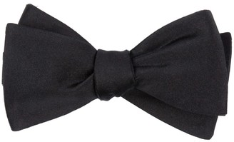 Tie Bar Solid Satin Black Bow Tie