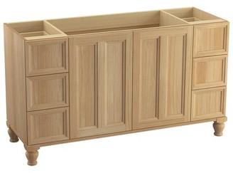 "Kohler Damask 60"" Vanity Base Only with Furniture Legs, 2 Doors and 6 Drawers"