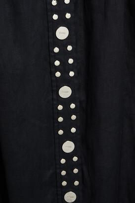 Ganni Studded Pleated Linen-gauze Midi Skirt
