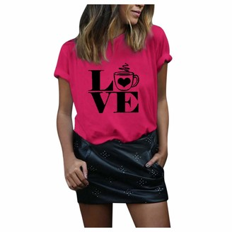 MOTOCO Women Top Ladies Valentine's Day Blouse Plus Size Print Round Neck Casual Short Sleeved T-Shirt (3XL