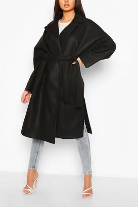 boohoo Oversized Belted Wool Look Coat