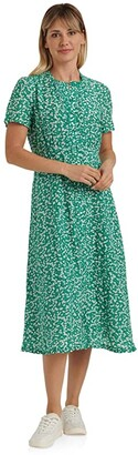 Lucky Brand Short Sleeve Scoop Neck Scalloped Hem Penelope Dress (Green Multi) Women's Clothing