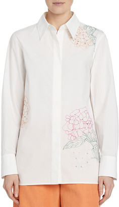 Lafayette 148 New York Greyson Button-Down Blouse w/ Embroidery