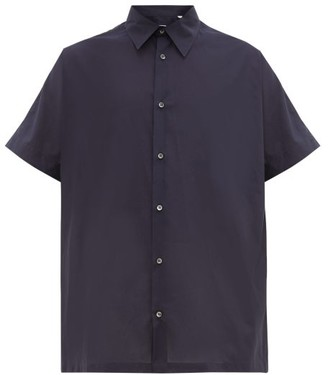 E. Tautz Grown-on Sleeve Cotton-poplin Shirt - Mens - Navy
