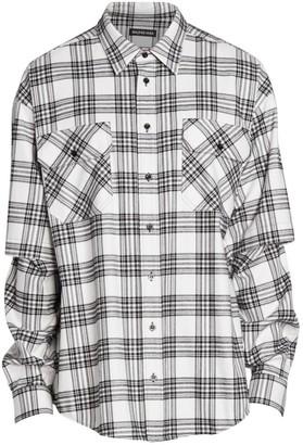 Balenciaga Oversized Double-Sleeve Plaid Shirt