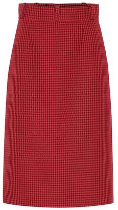 Balenciaga Houndstooth virgin wool midi skirt