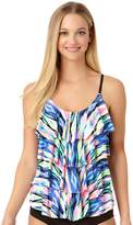 Cole Of California Women's Cole of California D-Cup Print Tiered Ruffle Tankini Top