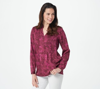 Joan Rivers Classics Collection Joan Rivers Split Collar Camo Print Pullover with Pintuck Details