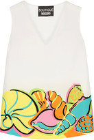 Moschino Printed Crepe De Chine Top - White