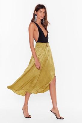 Nasty Gal Womens Pleats to Meet You Satin Midi Skirt - Green - XL