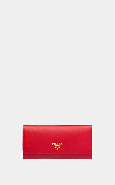 Prada Women's Leather Continental Wallet - Red