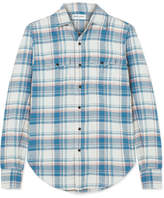 Saint Laurent Checked Cotton-blend Shirt - Sky blue