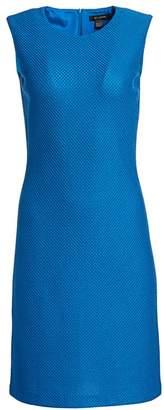 St. John Sleeveless Honeycomb Stretch-Wool Knit Dress