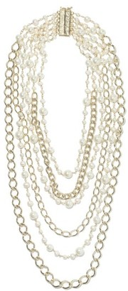 Rosantica Comedy Faux-pearl And Chain Necklace - Pearl