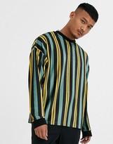 Asos Design DESIGN oversized long sleeve vertical stripe t-shirt in velour