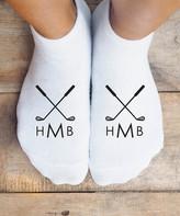 Personalized Planet Socks White - Golf Monogram Personalized No-Show Socks - Adult