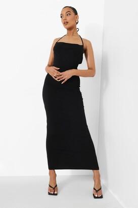 boohoo Strappy Cowl Neck Tie Back Maxi Dress