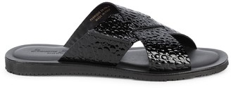 Massimo Matteo Lea Embossed Patent-Leather Slides