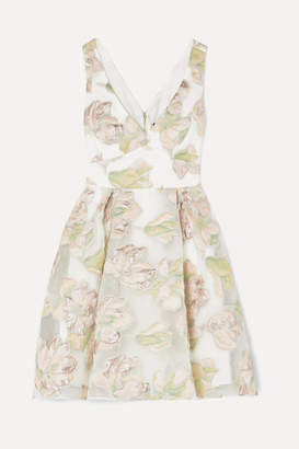 Marchesa Metallic Fil Coupe Tulle Mini Dress - Ivory