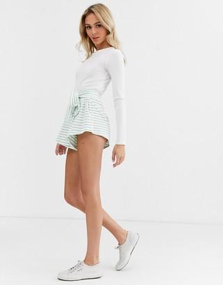 Glamorous stripe shorts with tie belt