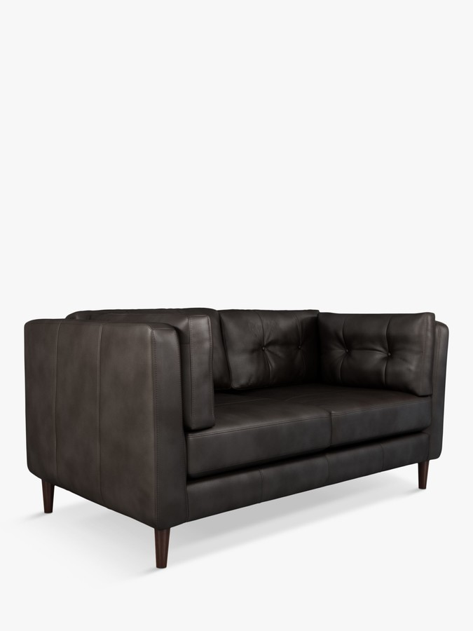 John Lewis & Partners Booth Medium 2 Seater Leather Sofa, Dark Leg