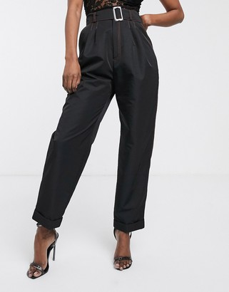 ASOS DESIGN belted trouser in shell fabric with contrast stitching