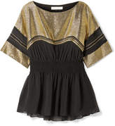 Chloé Chiffon And Lamé Top - Black
