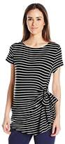 Three Seasons Maternity Women's Maternity Short Sleeve Stripe Side Tie Top