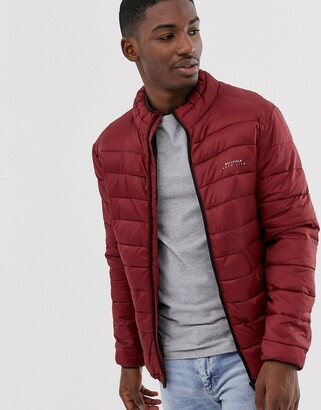 Bellfield funnel neck puffer jacket-Red