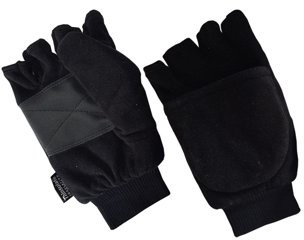 Hands OnTM CT8427, Men's Micro Fleece Flip-Top Mittens, 40 gm 3M Thinsulate Lined, BLACK (One Size Fits Most)