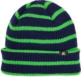 Paul Smith Men's Striped Rib-Knit Lambswool Beanie-NAVY, GREEN
