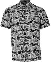 Topman Grey Cheetah Print Short Sleeve Casual Shirt