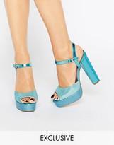 Terry De Havilland Coco Blue Glitter Platform Heeled Sandals