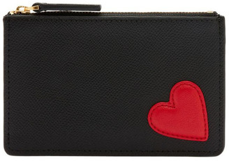 Lulu Guinness Black/Red Heart Lottie Pouch
