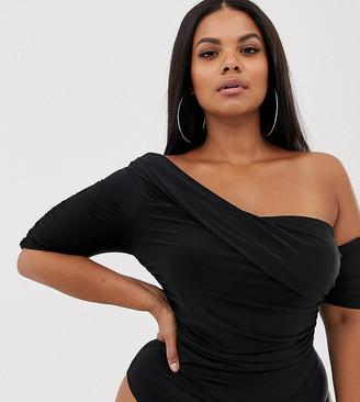 Club L London Plus one shoulder ruched body in black