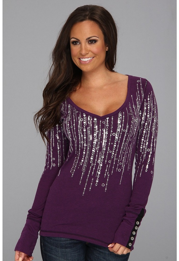 Rock and Roll Cowgirl Long Sleeve w/Sparkle Neckline (Grape) Women's Clothing